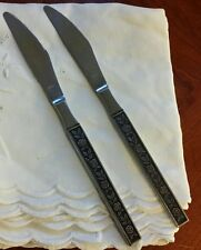SET OF TWO INTERPUR STAINLESS STEEL MEXICALLY ROSE DINNER KNIVES FLATWARE, JAPAN
