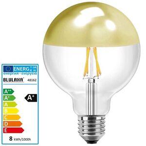 led kopfspiegellampe 8 watt gold verspiegelt e27 g125 globe lampe birne leuchte ebay. Black Bedroom Furniture Sets. Home Design Ideas