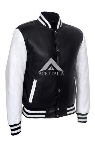 Men/'S Baseball Nero Bianco COLLEGE dj Alla Moda Hip Hop Rap in Pelle Giacca Varsity