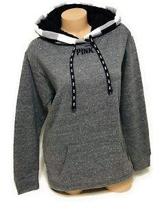 Details about NWT Victorias Secret Pink Graphic Hoodie Sherpa Lined Hood Size Medium Gray