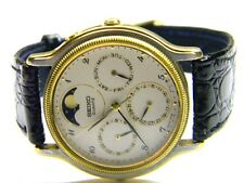 mens Seiko triple calendar day date moonphase dress watch model# 7F39-6029