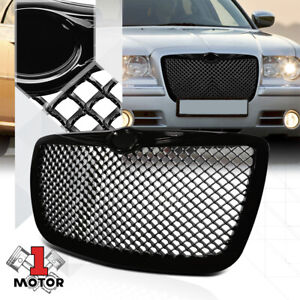 Glossy-Black-ABS-3D-Wave-Mesh-Bumper-Grille-Grill-for-05-10-Chrysler-300-300C