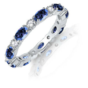 Oval-Blue-Sapphire-CZ-Eternity-Stackable-and-Round-Clear-CZ-Genuine-Silver-Ring