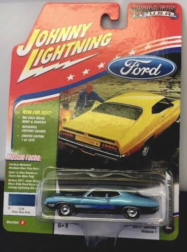 JOHNNY LIGHTNING 1970 FORD TORINO GT MED BLUE  RR TIRES 2017 RELEASE 1 FREE SHIP
