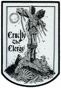 Crucify-The-Clergy-Extra-Large-Woven-Patch-Spud-Tattoo-Crucifixion-Crucify