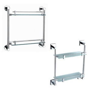Round Square Double Glass Shelf Bar Save Space For Bathroom Shower