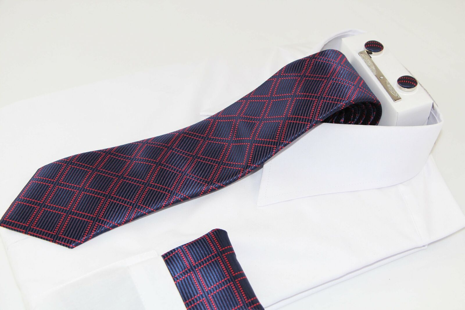 Mens Navy & Red Checkered Matching Neck Tie, Pocket Square, Cuff Links And Tie