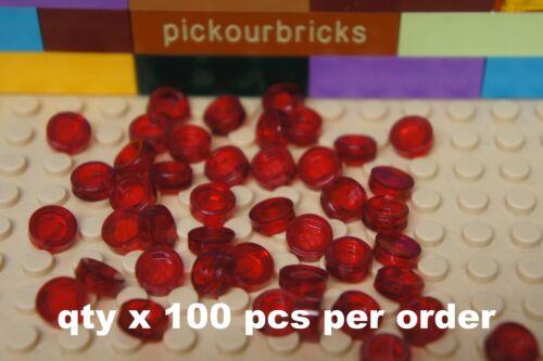 Qty x 100 Pcs LEGO 98138 Transparent Red 1x1 FLAT ROUND TILE 1 x 1 for Floors