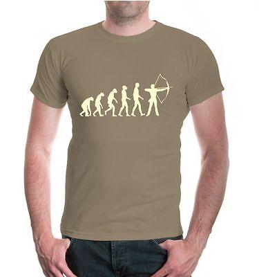 Entusiasta Uomo A Maniche Corte T-shirt The Evolution Of Archery Arco Sparare Schießsport-