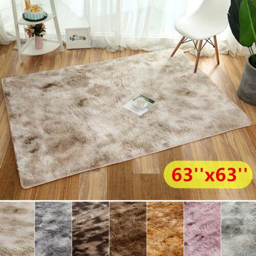 63x63 Solid Plush Shag Area Rug Soft Fluffy Floor Bedroom Carpet Washable Mat US
