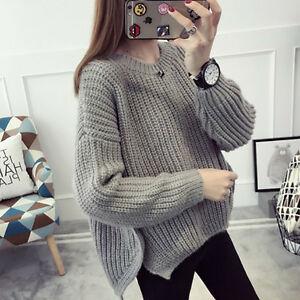 New-Women-039-s-Asymmetrical-Hem-Sweaters-Loose-T-shirts-Jumpers-Pullovers-Irregular