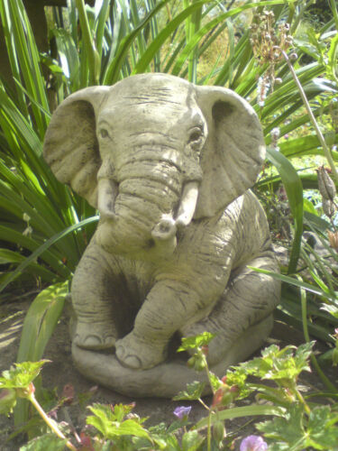 STONE GARDEN LUCKY SITTING ELEPHANT ORNAMENT
