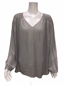 Laurie-Felt-Women-039-s-Woven-Pleated-Shoulder-Detail-Blouse-Grey-1X-Plus-Size