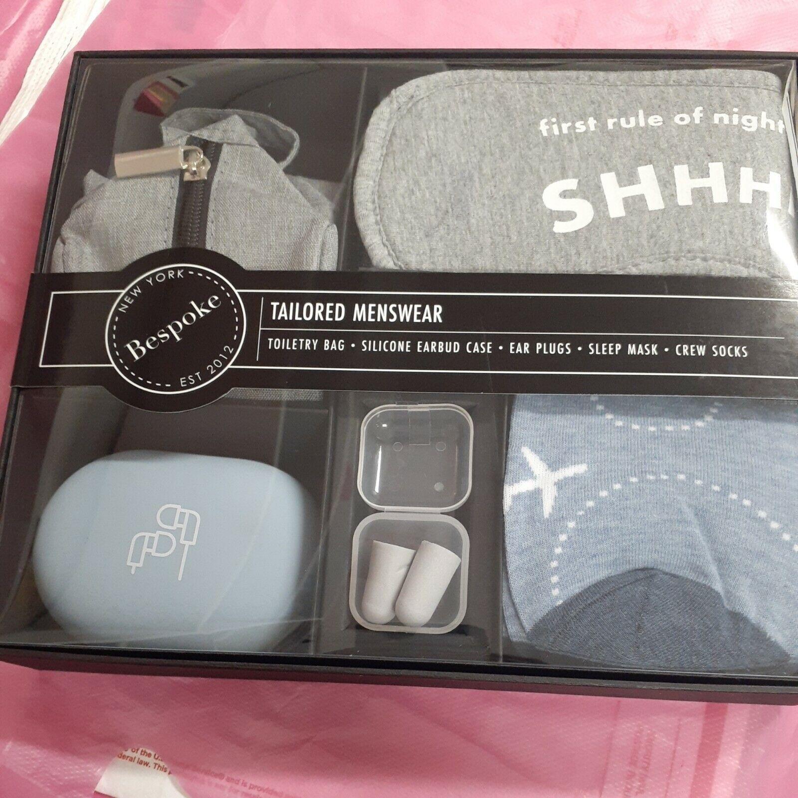 BESPOKE NY Menswear Set Travel Box Toiletry Bag Sleep Mask Socks Ear Bud