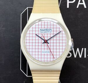 Swatch 1985, GW100re, Tennis Grid, working, rare date stamp