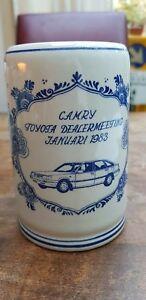 Vtg-Delft-Blue-White-Camry-Mug-Tankard-Stein-Toyota-Dealer-meeting-Jan-1983