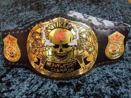 WWF World Heavyweight Champion Belt Smoking Skull Plates Leather Replica Adults