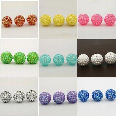 10pcs Sparkly GOLD AB Bubblegum Beads Chunky Round Resin Jewellery DIY 20mm