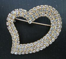 **  LARGE CRYSTAL RHINESTONE HEART BROOCH SIGNED OTC   FOR VALENTINE'S DAY!