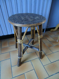 VINTAGE TABOURET CHAISE BAR BISTROT BAMBOU ROTIN OSIER ANNEES 70 FLEUR COLONIAL