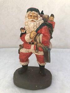 "Vintage Old World Santa 8"" Hand Painted Resin Santa Claus with Box"