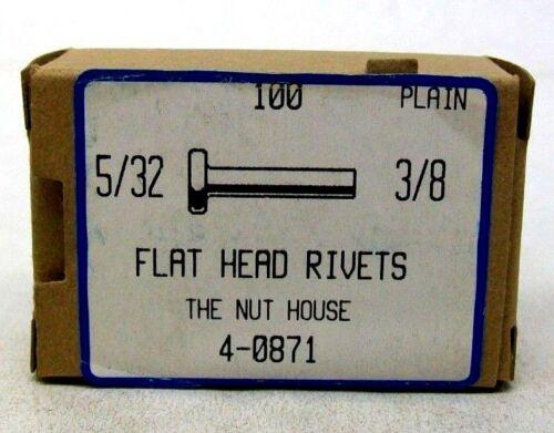 """BOX OF 100 NEW 5//32 X 3//8/"""" FLAT HEAD RIVET SOLID STEEL PLAIN FREE SHIP NH"""
