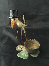 Rare Coquetier Oiseau au Chapeau Haut de Forme Polychrome Vers 1900