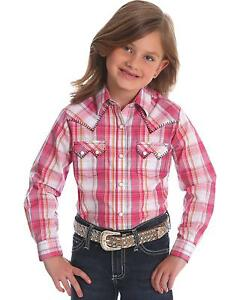 720f8c1e Image is loading Wrangler-Girls-Sawtooth-Pink-Pearl-Snap-Long-Sleeve-