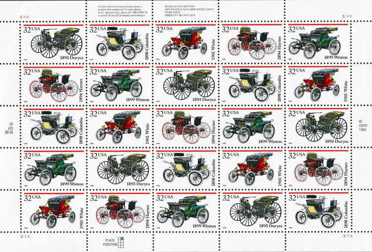 1995 32c Antique Automobiles, Sheet of 25 Scott 3019-30