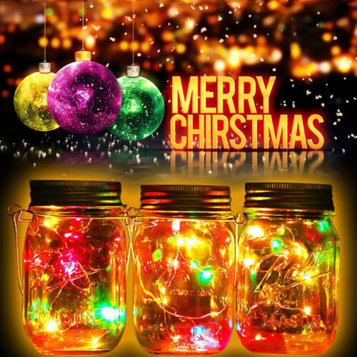 Solar Mason Jar 6 Pack 20 Led String Fairy Star Fairy Firefly Lids Decor Lights