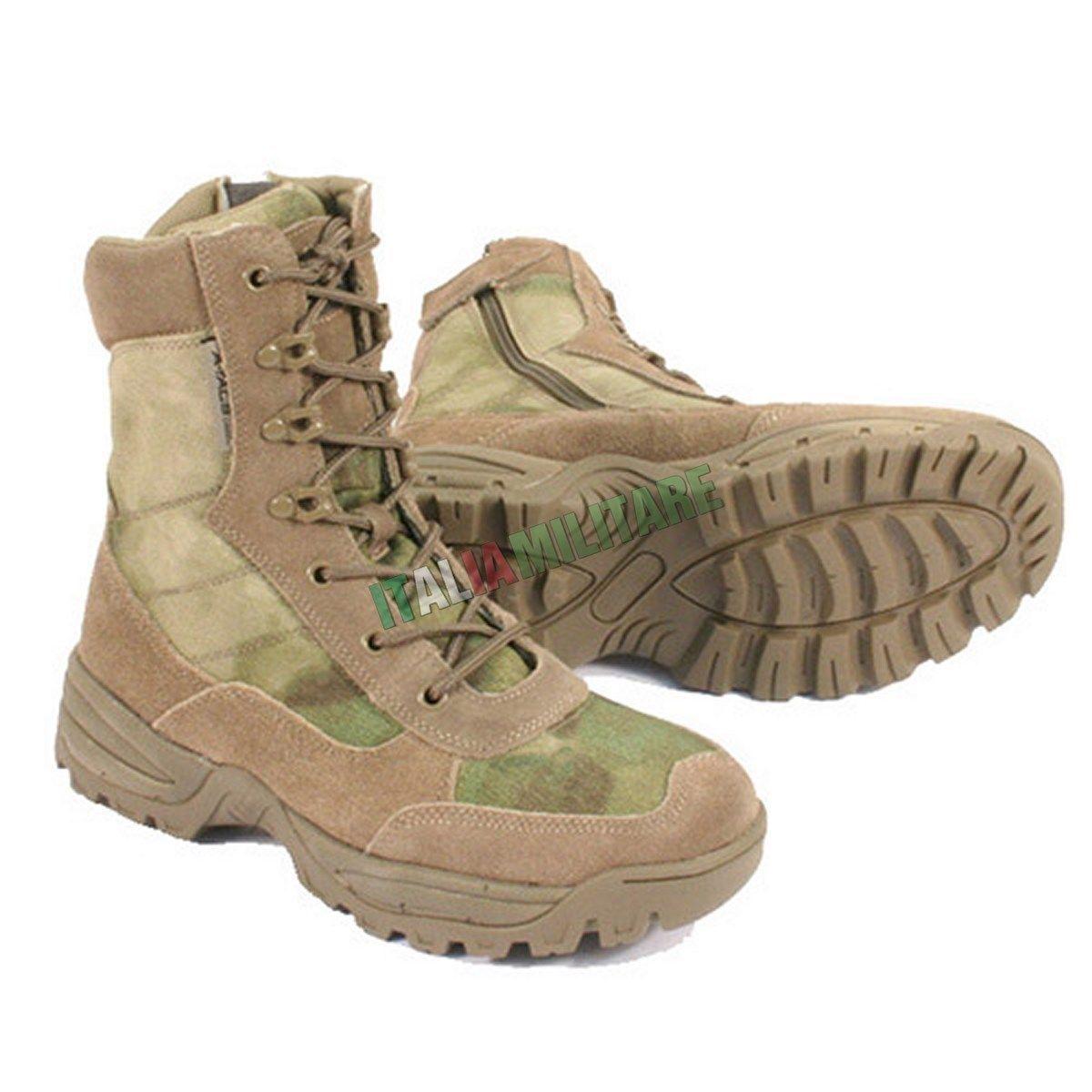 Anfibi Stivali Militari ZIP Laterale ATACS FG - Anfibio Militare MilTec A TACS   Pratico Ed Economico    Uomini/Donne Scarpa