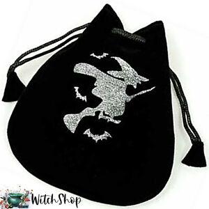 WITCH-on-BROOM-Black-Velvet-Pouch-5-034-x4-034-Drawstring-Bag-Wicca-Witch-Tarot-Jewelry