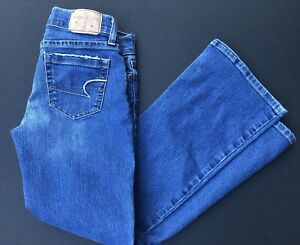 American Eagle Mujer Hipster Stretch Blue Jeans Pantalones Tamano 4 Corto Court Ae Ebay