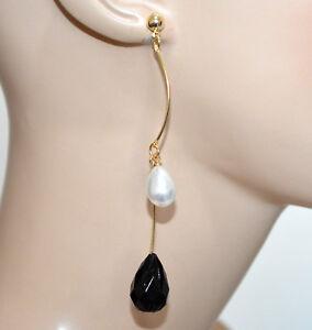 ORECCHINI donna oro dorati perla bianca pietra nera fili pendenti lunghi CC90