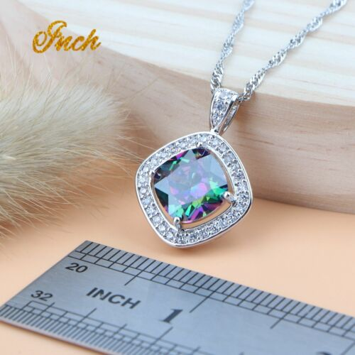 Mystic Rainbow Topaz Jewelry Set Square Crystals Shiny 925 Sterling Silver