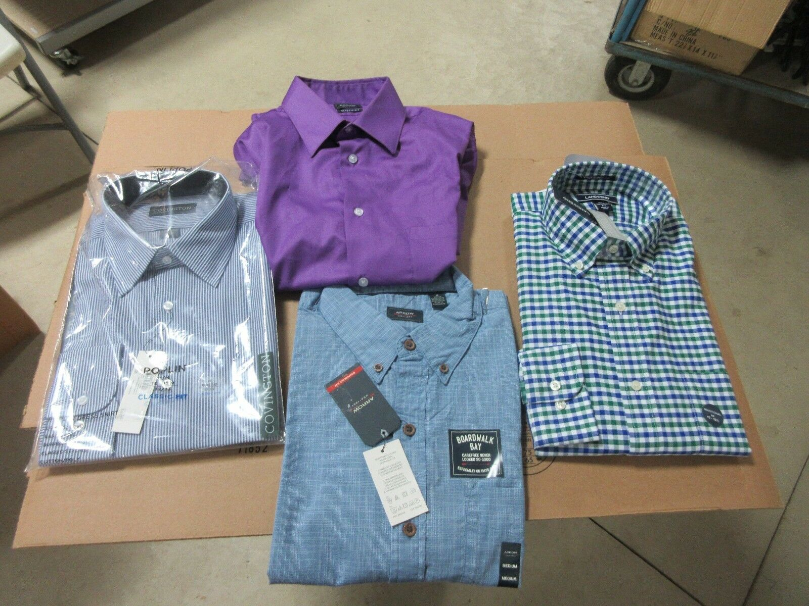 4  Herren DRESS SHIRTS BUTTON DOWN PLAID STRIPED SOLID LONG SLEEVE CLOTHES BULK LOT