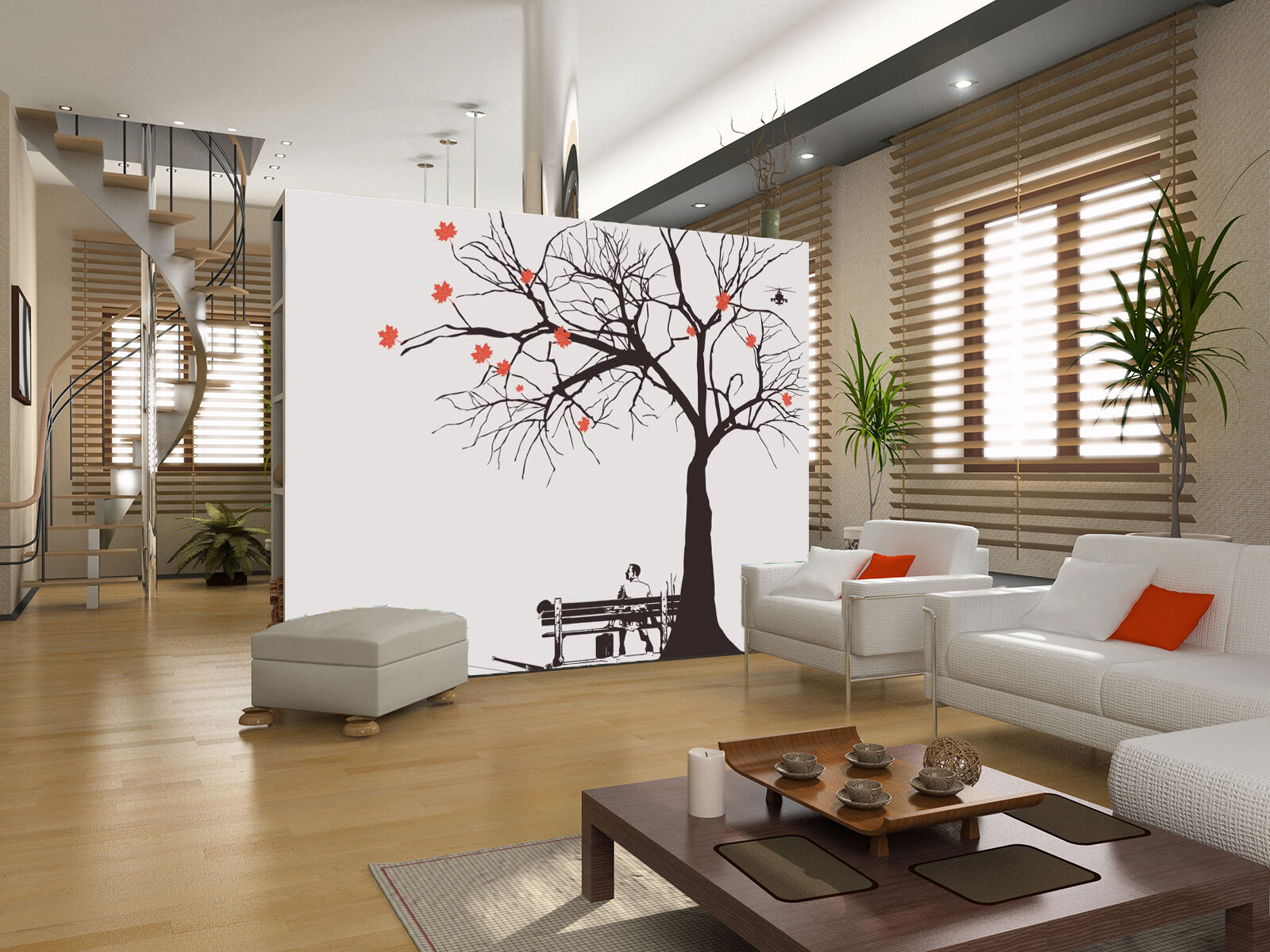 3D Autumn Branch Tree 556 Wall Paper Wall Print Decal Wall Deco Indoor Wall