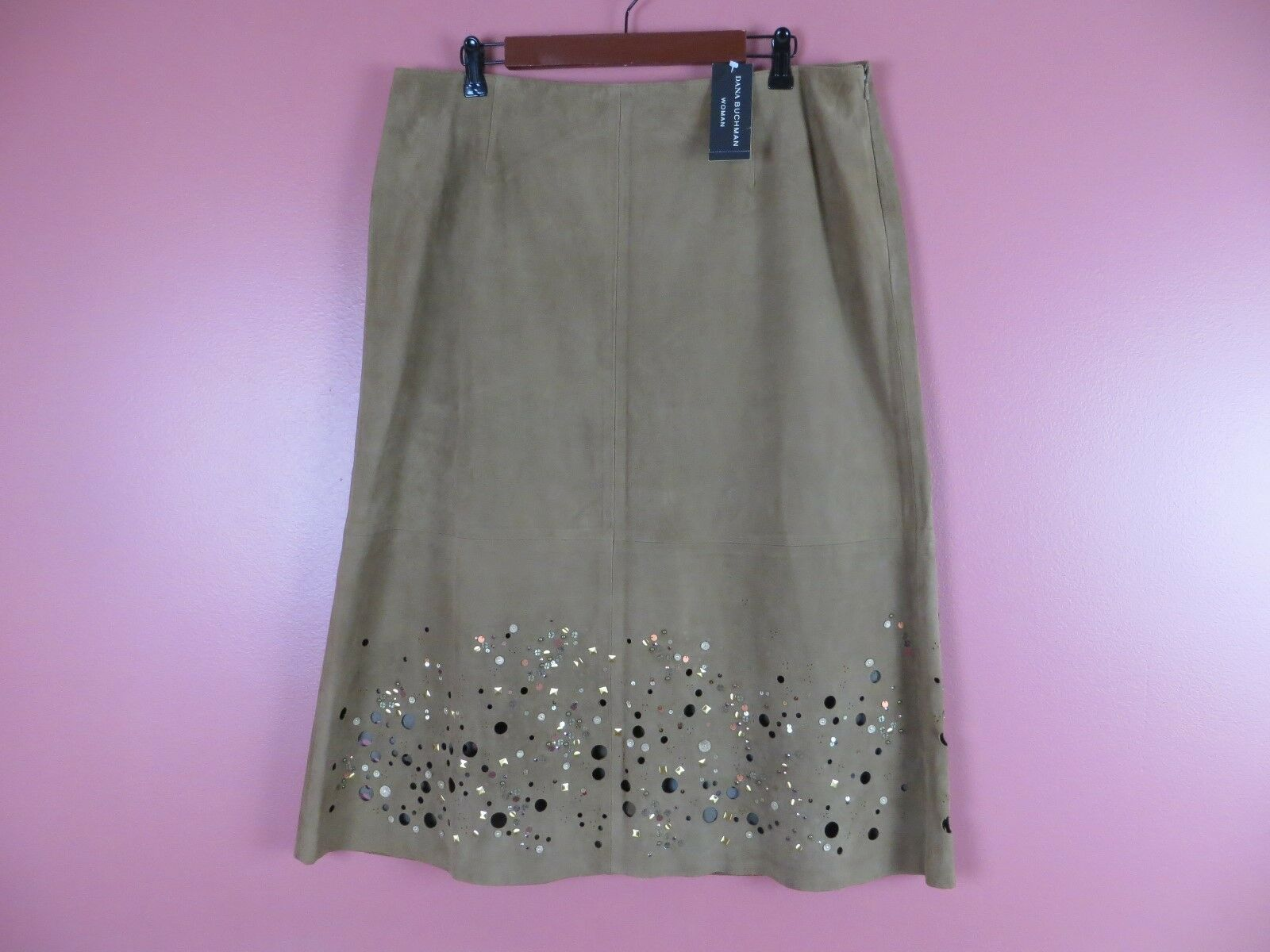 LTR0496- NWT DANA BUCHMAN Woman Suede Leather Skirt Sequined Dark Brown 16