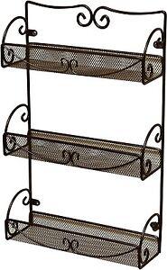 Spice Rack 3 Tier Wall Mounted Holder Storage Shelf Cabinet Organizer Bronze New