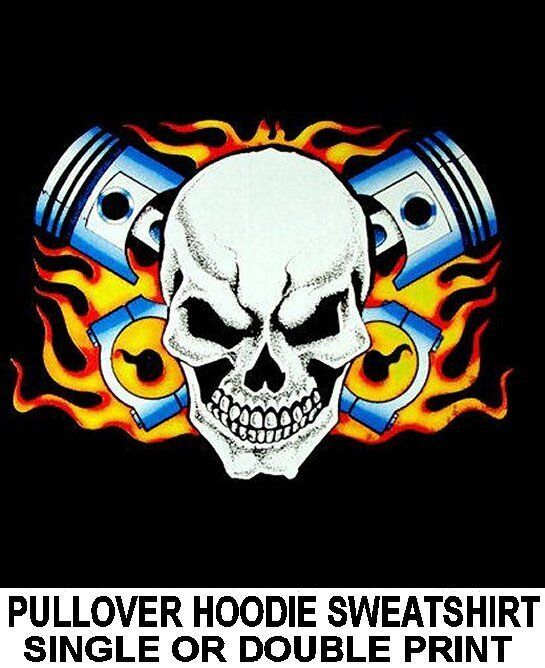 STREET HOT RAT ROD RACE CAR BIKER SKULL PISTONS IN FLAMES HOODIE SWEATSHIRT DS52
