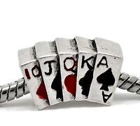 Poker Hand Cards Casino Games Las Vegas Bead For Silver European Charm Bracelets