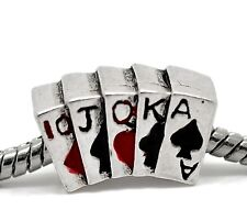 Poker Hand Cards Casino Games Las Vegas Bead for Silver European Charm Bracelets