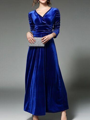 Elegante Vestito Blu Tubino 3189 Lungo Lunghe Slim Maniche Abito Velluto rxoWeCQdB