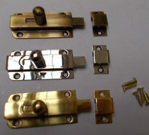 VINTAGE SMALL KNOB BOLT -old retro style cupboard door slide lock latch