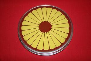 DDR-1970er-Torten-Teller-Kuchenteller-Servier-Platte-Braun-Gelb-Drehbar-30-cm