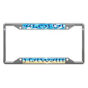 Aloha Hawaii Metal License Plate Frame Tag Holder Four