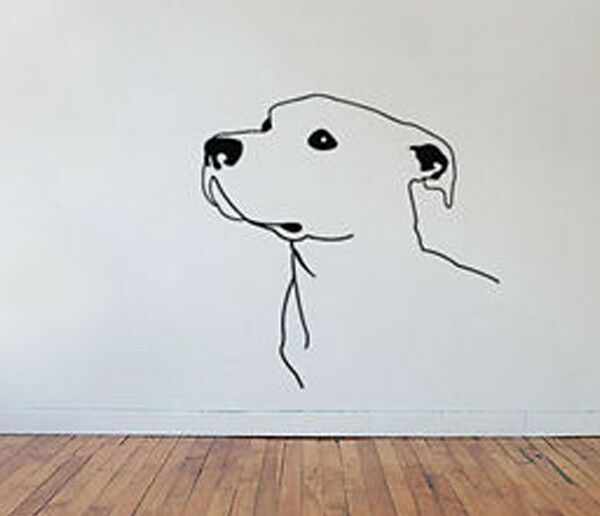 Dog Breed - Pitbull Looking up - Vinyl Wall Decal