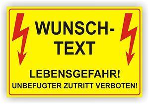 Elektro Wunschtext/ Warnschild/ Sicherheitsregel/ Hochspannung/ Alu-Verbund 3mm Sammeln & Seltenes Reklame & Werbung