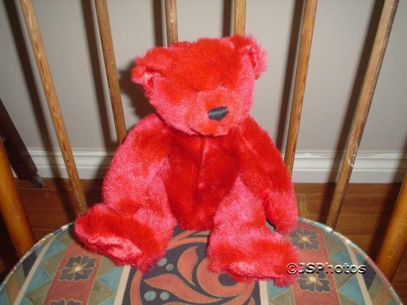 Giant Star 2000 rot Plush Teddy Bear Jointed Retirot