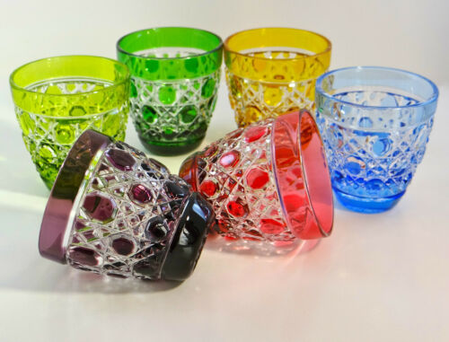 AJKA CRYSTAL VODKA SHOT GLASSES RUSSIAN COURT PATTERN, CASED CRYSTAL